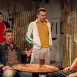 Joshua Garwood, Jim Mannering, Alex Southern and Adam Patrick Boakes in Marching On Together by Adam Hughes at the Old Red Lion Theatre