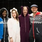 The Cast of The Curious Incident Of the Dog In The Night-Time In Their Onesies. Photo: Helen Maybanks